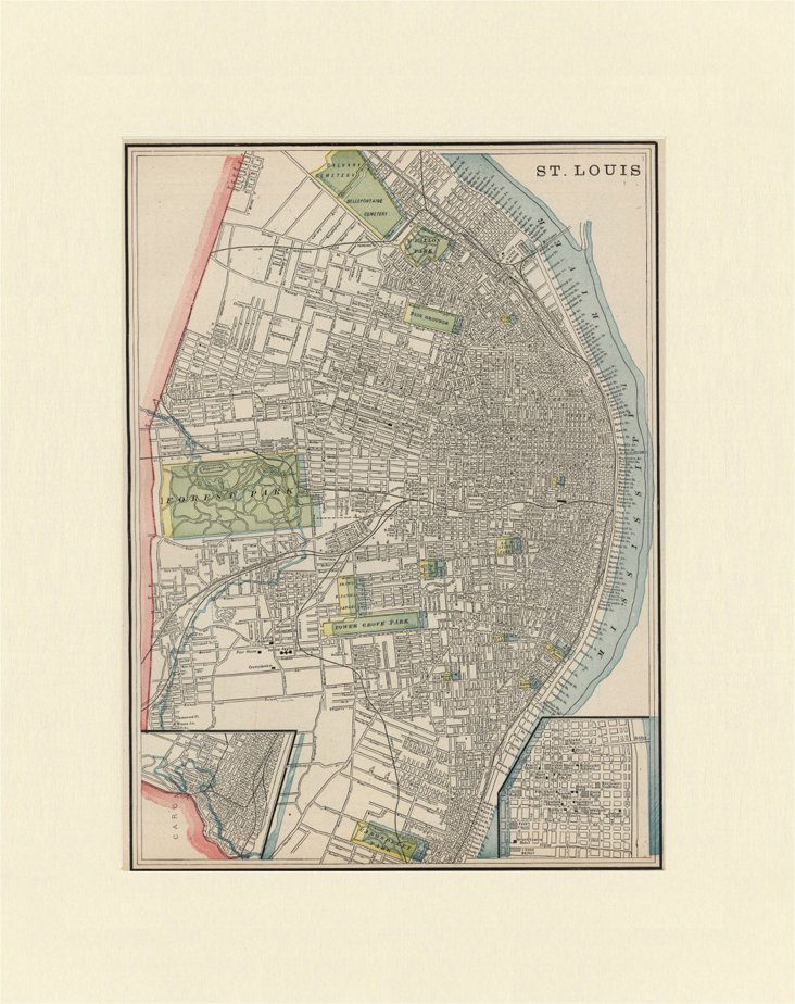 Map of St. Louis, C. 1900