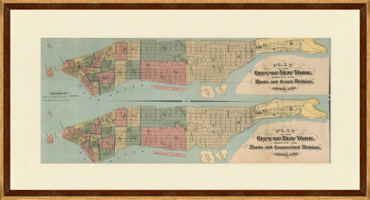Framed Plan of NYC Map, 1869