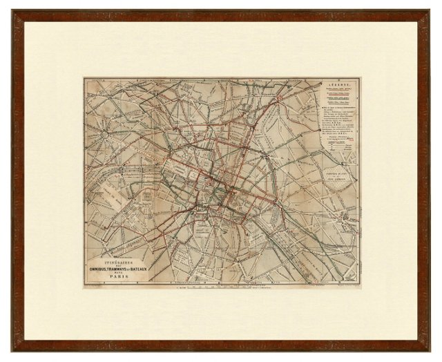 Paris Omnibus & Tramway Map, 1867