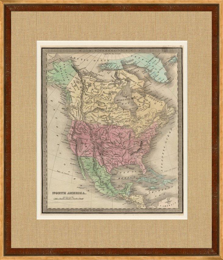 Map of North America, 1842