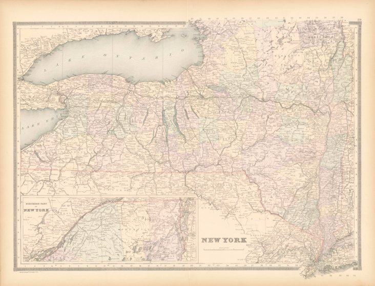 Map of New York,  1886