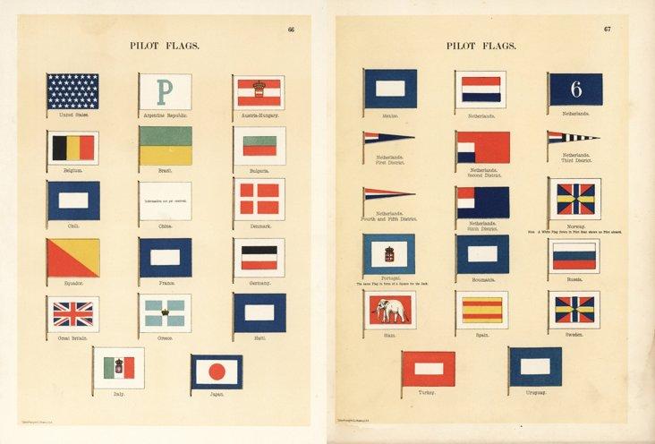 Pilot Maritime Flag Prints, 1889, Pair