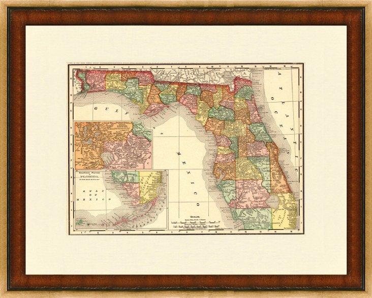 Map of Florida, C. 1890