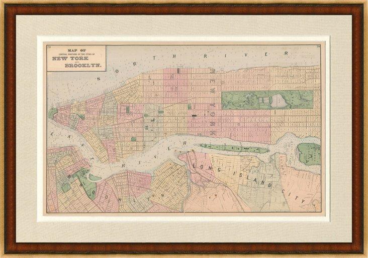 Map of NYC & Brooklyn, 1876