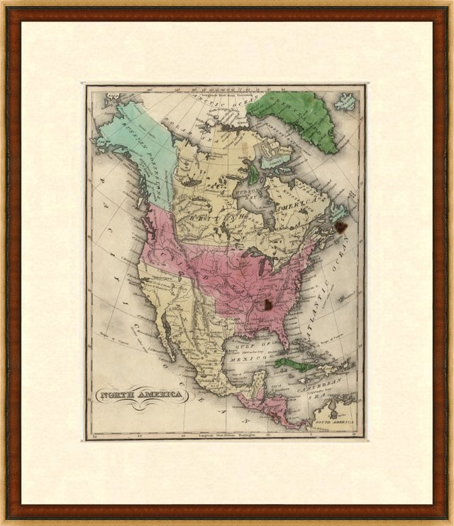 Map of North America, 1835