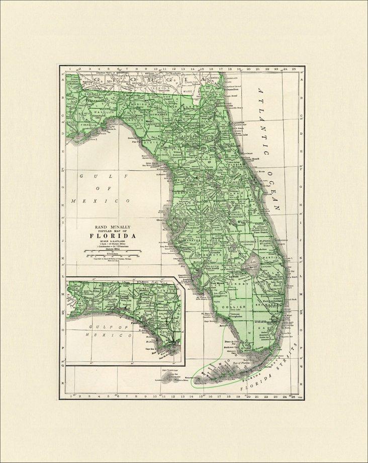 Map of  Florida, 1937
