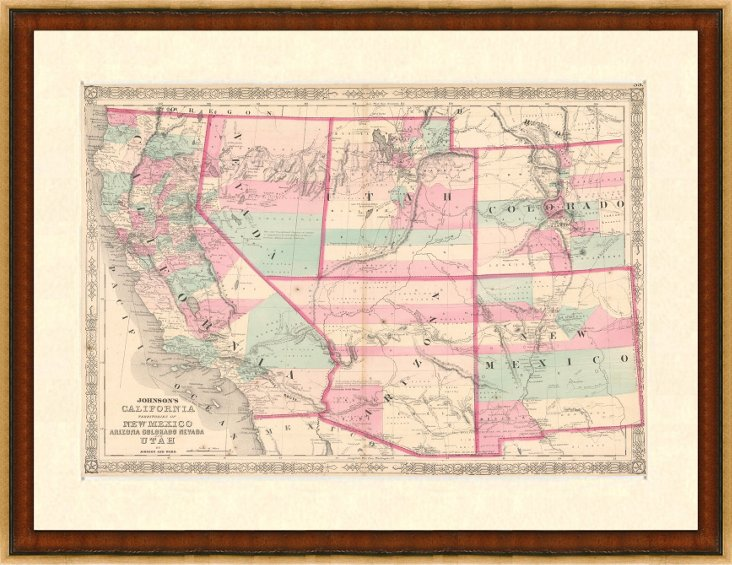 Map of California & Western States, 1863