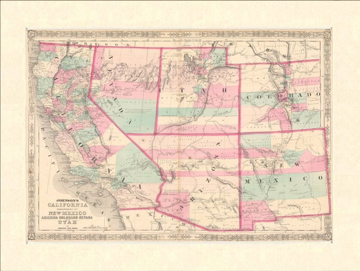 California & Western States Map, 1863