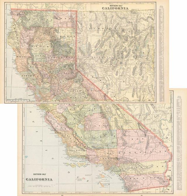 California Maps, 1900, 2 Pcs