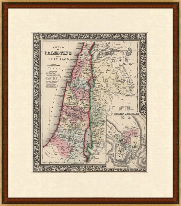 Antique Map of Palestine, 1864