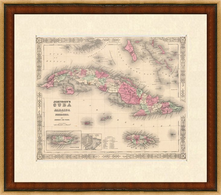 Antique Map of Cuba