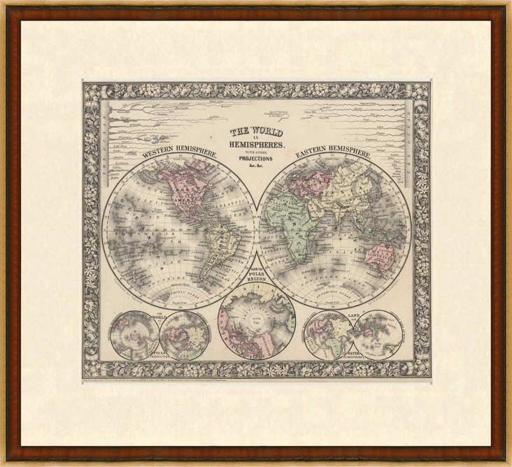 Antique Map of World in Hemispheres