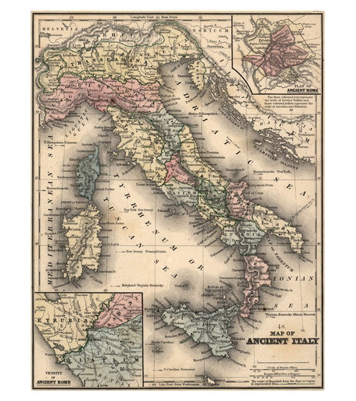 Map of Italy,  C. 1860