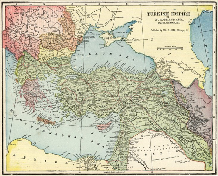 Map of the Turkish Empire, C. 1900