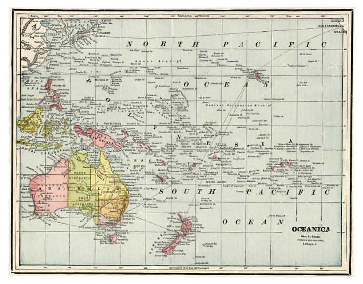 Map of Oceania, C. 1900