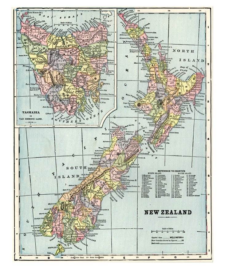 Map of New Zealand, C. 1900