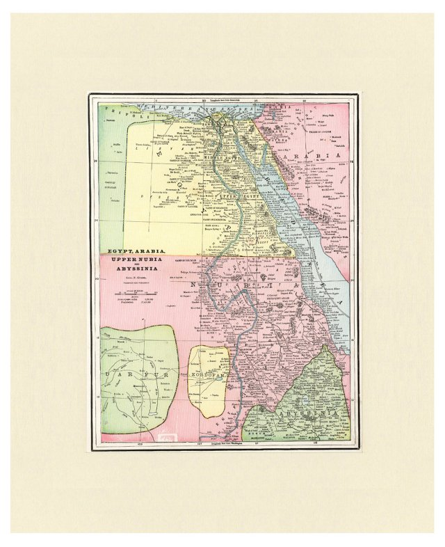 Map of Egypt & Western Arabia, C. 1900