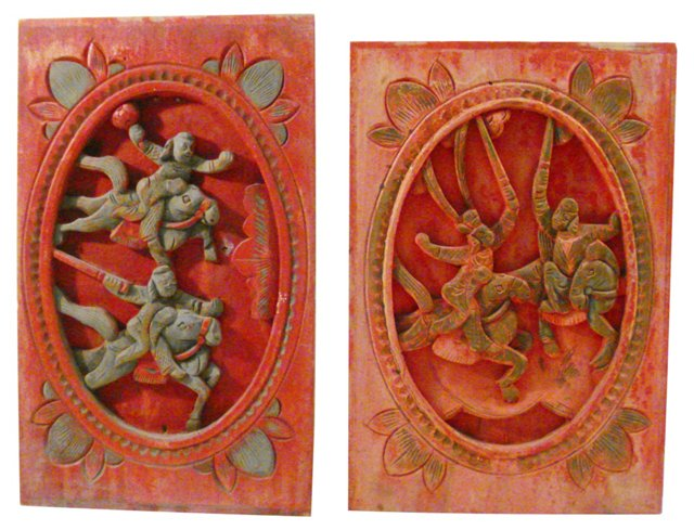 Antique Wall Hangings,  Pair