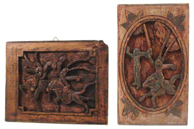 Antique Wall Panels, Pair