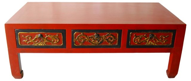 Red Lacquer Wood Coffee Table