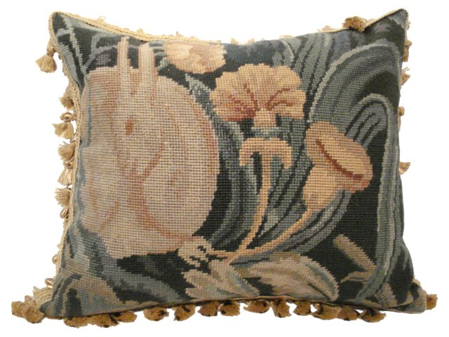 Petit Point Pillow w/ Rabbit