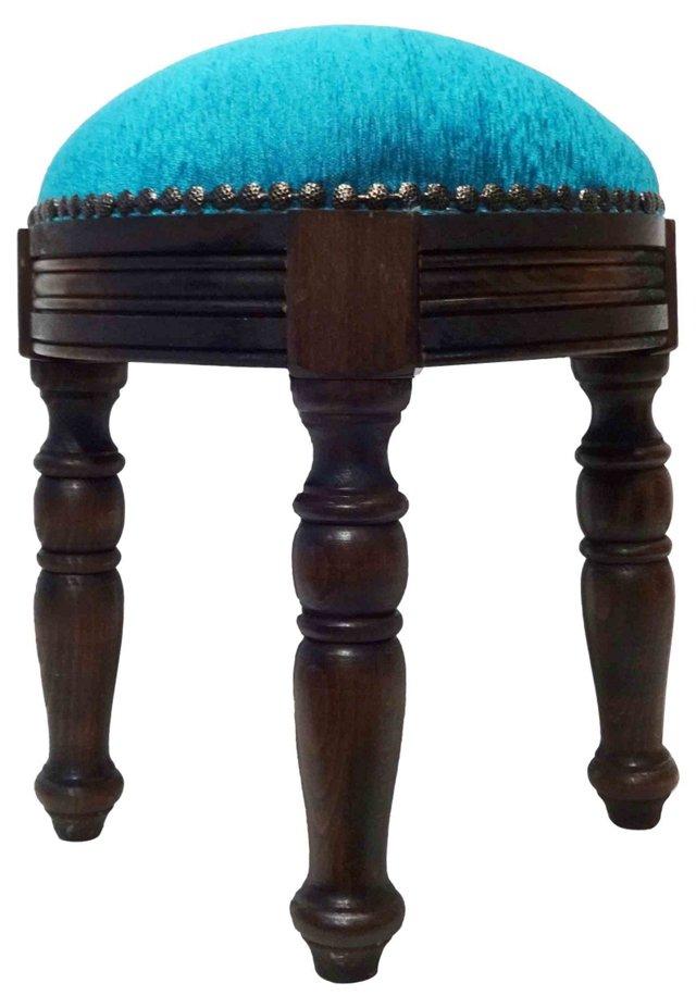 Stool w/ Turquoise Velvet Upholstery