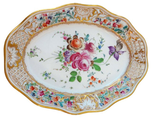 19th-C. Dresden  Oval Bowl