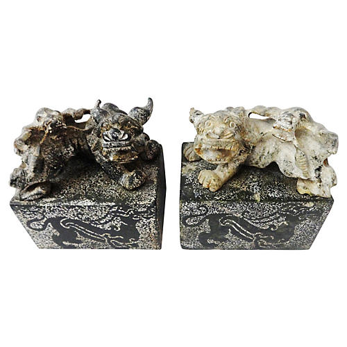 Stone Stamp Seal W/Foo Dogs