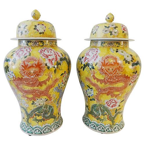 Imperial Yellow Ginger Jars, Pair