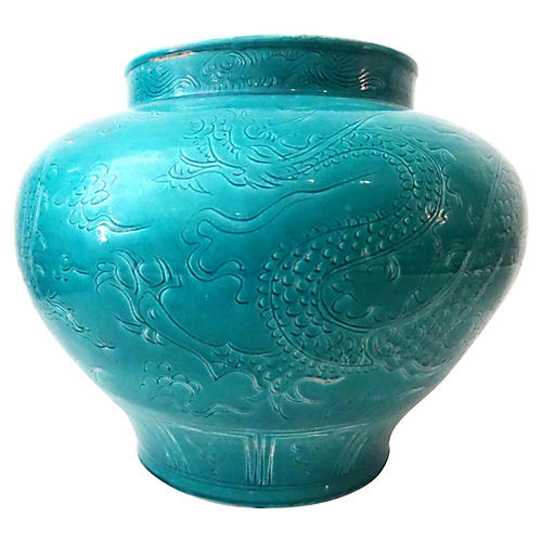 Yuan Dynasty-Style Turquoise Dragon Vase