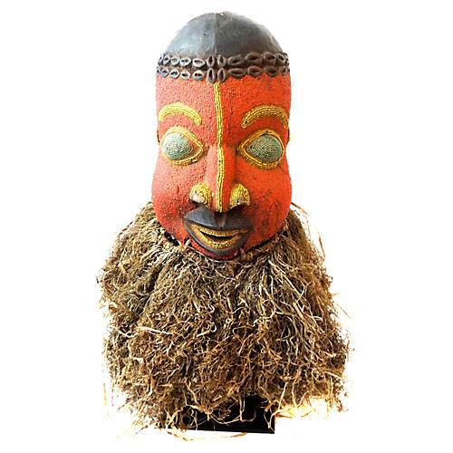 African Bamileke Headdress Mask w/ Stand