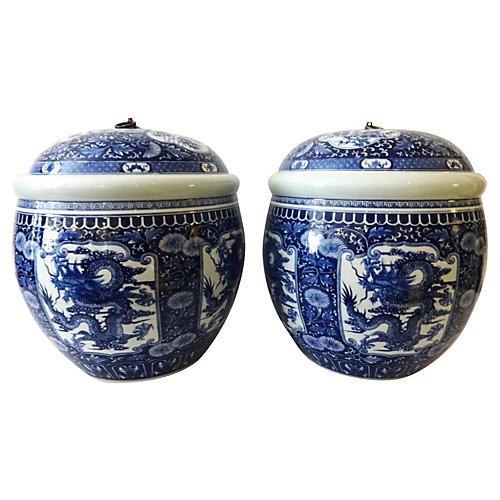 Porcelain Ginger Jars, S/2