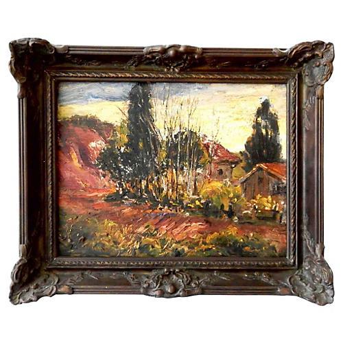 European Oil on Canvas Landscape