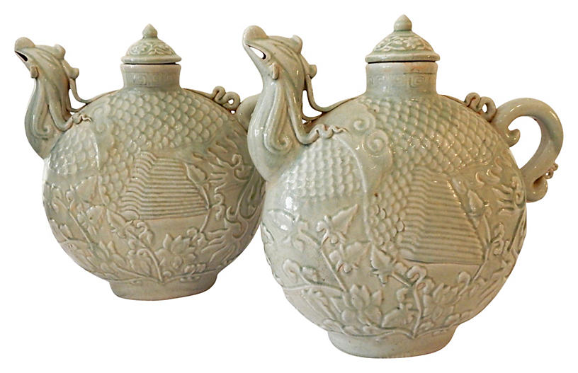 Celadon Phoenix Birds Lidded Jars, Pair
