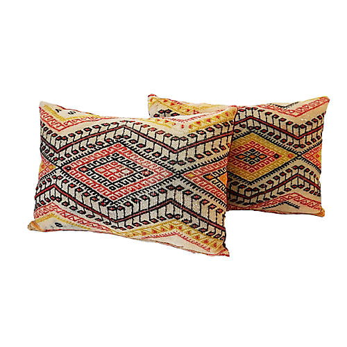Antique Caucasian Soumak Pillows, Pair