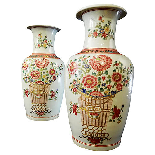 Hand-Painted Porcelain Vases, Pair