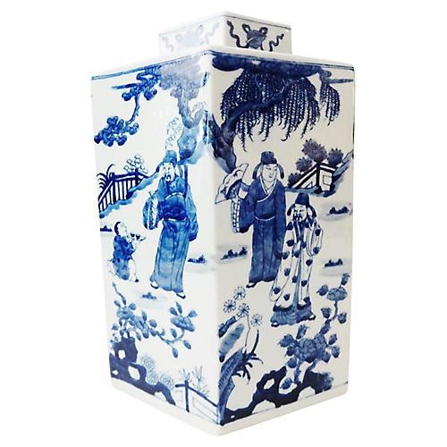 Blue & White Hexagonal Ginger Jar