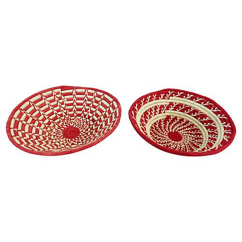 Red & Beige Burundi Baskets, S/2