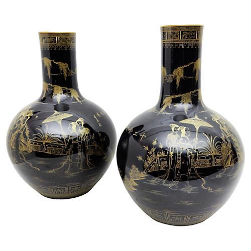 Famille Noire Vases, Pair