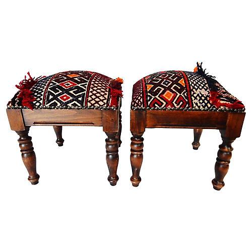 Afghan Tribal Rug Stools, Pair