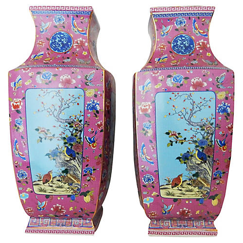 Porcelain Famille Rose Pair Of Vases