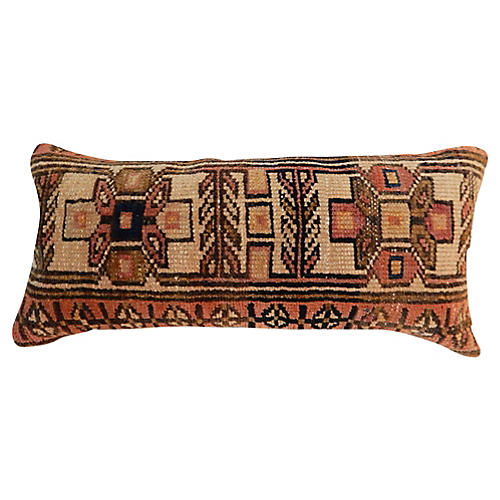19th-C. Hamadan Fragment Lumbar Pillow