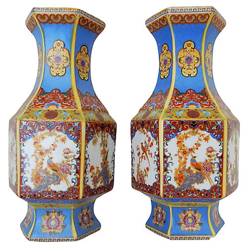 Chinese Porcelain Famille Rose Vases- A