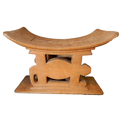 Ashanti Carved Wood Porcupine Stool