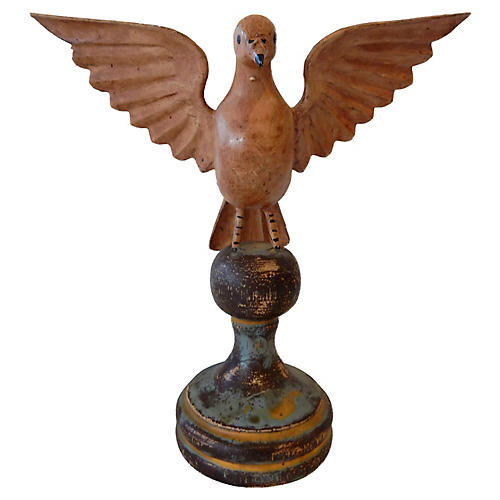 Hand-Carved Wood Bird on Stand