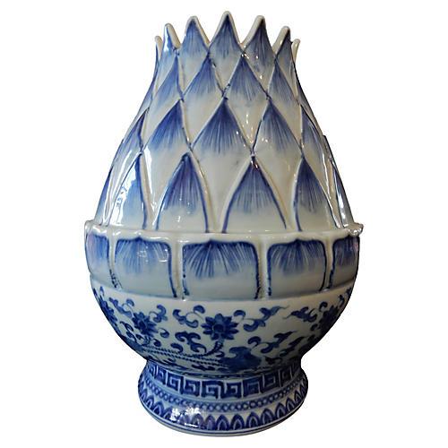 Blue and White Lotus Flower Vase