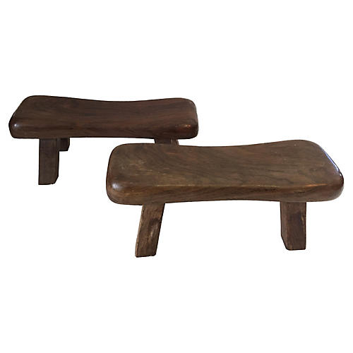 Solid Wood Asian Head Rests, Pair