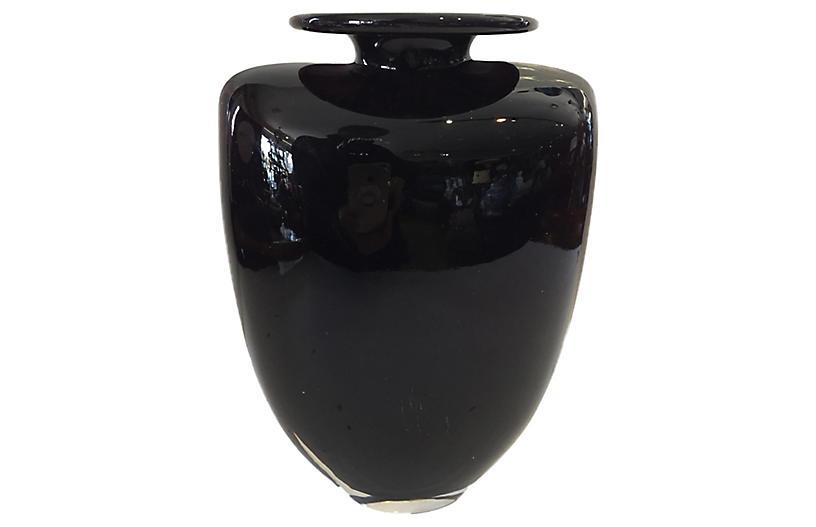 Kosta Boda Aubergine Vase Signed