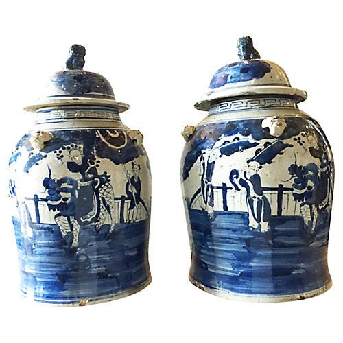 Chinoiserie Ginger Jars, S/2