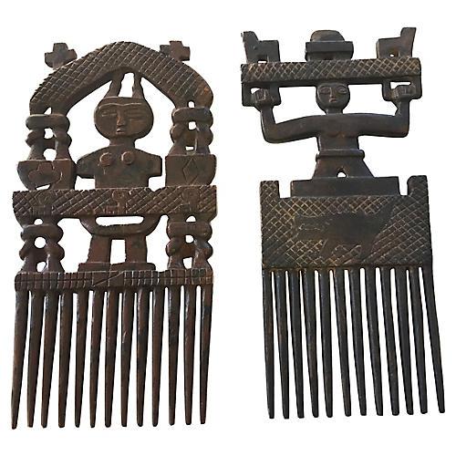 African Ashanti Wedding Combs, Pair